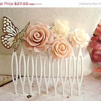 ON SALE Floral Bridal Hair Comb, Bridal Hair Accessory, Butterfly Accesories, Valentines Day Gift, Birthday Gift, ooak