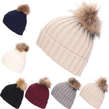 Women Winter Hat Faux Raccoon Fur Pom Wool Knit Baggy Crochet Beanie Ski Cap Hot Y107