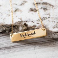 Bridesmaid Gold / Silver Bar Necklace - Bridesmaid Gift