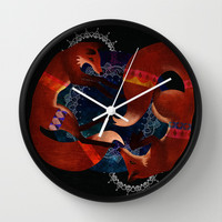 Space Foxes Wall Clock by hannahclairehughes