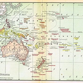Rand McNally Map - OCEANIA - Chromolithograph - 1903