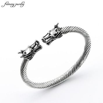 Men Punk Leading Opening Plated Steel Wire Viking Bracelet Unisex Titanium Silver And Gold Steel Stripes Bracelet & bangle 34g