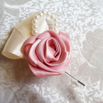 Satin ribbon flowers wedding BOUTONNIERE dusky pink ivory creme pearls, sparkling brooches, vintage style, custom