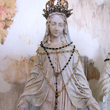 Antique Virgin Mary statue painted embellished shabby cottage chic plaster Madonna figure distressed French Nordic decor anita spero design
