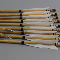 12X White Flame Wood Archery Arrows Feather Fletched Hunter Nocks Hunting Target Practice
