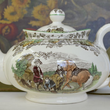 Spode Byron Brown Transferware Tea Pot Teapot  Polychrome Man on Horse Dogs Hunter English Hunt Scene Vintage Spode China Tea Drinker Gift