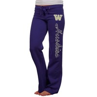Washington Huskies Ladies Animal Print Rugby Fleece Sweatpants - Purple