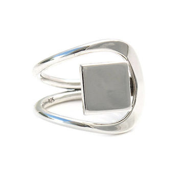 Minimalist sterling silver ring   Minimalist   Fashion silver jewelry   Mexico   925   Square rings   Cube rings   Box rings   Art   0214