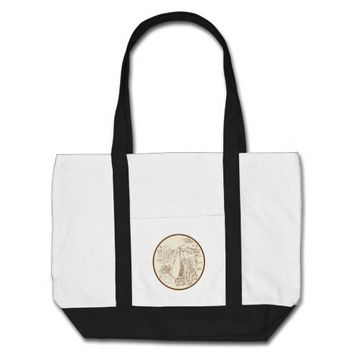 Olive Oil Jar Cheese Tuscan Countryside Etching Tote Bag