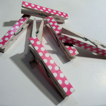 Hot Pink and White Polka Dot Decorated Wooden Clothespins - set of 6