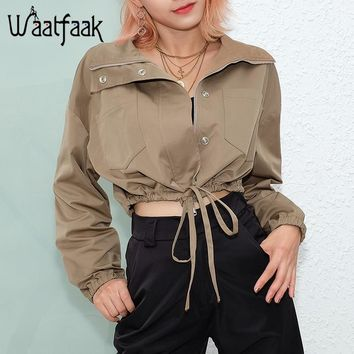 Trendy Waatfaak Safari Style Autumn Jacket Women High Waist Zipper Jacket Khaki Drawstring Cropped Long Sleeve Pocket Jacket Streetwear AT_94_13