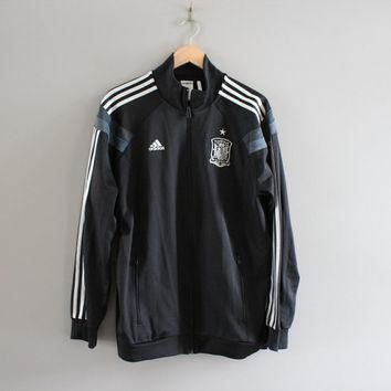Adidas Black Jacket 3 Stripes Jersey Jacket Training Sports Warm-Up Jacket Adidas Trac