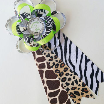 Safari Mommy to Be Corsage, Jungle Themed Baby Shower Decor, Baby Shower Corsage, Baby Shower Pin, Safari Baby Shower Decor