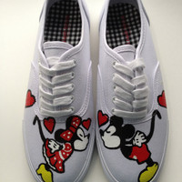 Any Size 5.5-13 Hand Painted Mickey Mouse, Minnie Mouse & Disney Inspired Shoes Womens Canvas Custom Valentines Love Keds Vans - Wide Avail