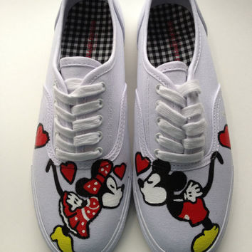 VANS VERSION Hand Painted Mickey Mouse Minnie Mouse & Disney Inspired Shoes Womens Canvas Custom Valentines Day Keds Vans Any Size 5-14