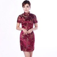 Burgundy Traditional Chinese Classic Dress Women's Satin Cheongsam New Summer Mini Qipao Size M L XL XXL Mujere Vestido Jy4061