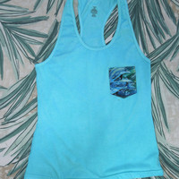 Hand-dyed Racerback Tank with Dolphin Pocket