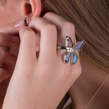 Silver butterfly ring with blue topaz birthstone - Iridescent Blue  Morpho Didius