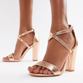 Glamorous Metallic Cross Strap Block Heel Sandals in Rose Gold at asos.com