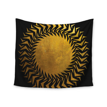 "Matt Eklund ""Gilded Chaos"" Gold Geometric Wall Tapestry"