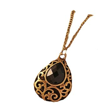 Vintage Hollow Water Drop Black Crystal Necklace