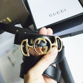 GUCCI Tide brand women's retro wild smooth buckle belt