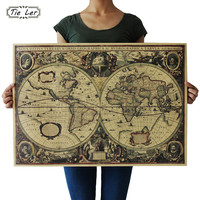 Retro World Map Nautical Ocean Map Vintage Kraft Paper Poster Wall Chart Sticker Antique Home Decor Map World 72.5*51.5cm