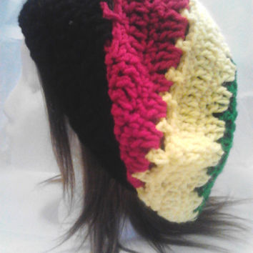 Crochet Rasta Color Beanie Tam Slouchy Hat in Red Green Yellow and Black