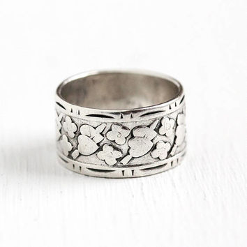 Vintage Cigar Band - Sterling Silver Wide Flower Heart Eternity Ring - Size 5 Retro 1950s Stacking Floral Statement Romantic Vargas Jewelry