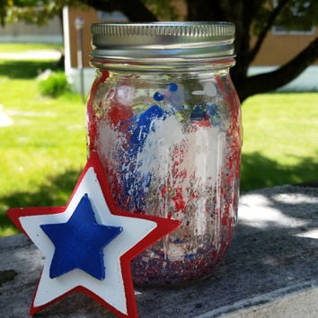 Red White Blue Splatter Jar, 4th of July Painted Jar, Independence Day Decor, Firework Jar, Painted Mason Jar, 4th July Home Decor