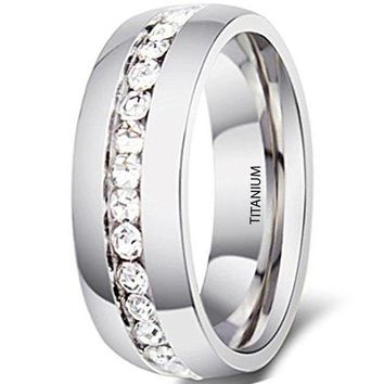 CERTIFIED 6mm Silver Titanium Stainless Steel Wedding Ring Channel Set Cubic Zirconia Engagement Band