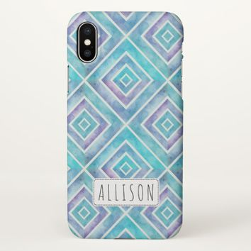 Blue watercolor squares geometric personalized iPhone x case