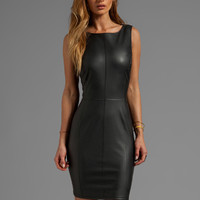 Velvet Marjory Ponti w/ Faux Leather Dress in Black from REVOLVEclothing.com
