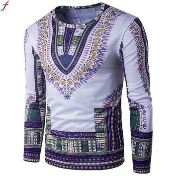 CREYLD1 T Shirt Men Long Sleeve New Fashion 2017 African Print Spring Men's Brand Clothing Casual Slim O-neck  T shirt Homme Tees
