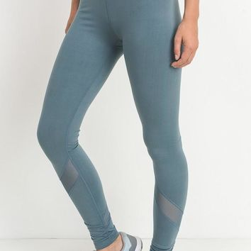 Full Length High Rise Leggings in Light Teal
