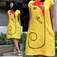 linen dress for women- yellow linen shift dress- summer dress-casual dress - hand embroidred  dress- made to order dress-pocket dress
