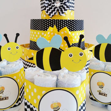Cute as can Bee Diaper Cake, Mommy to Bee Diaper Cake, Baby Shower Center Pieces, Bee Baby Shower
