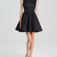 Jill Jill Stuart Dress - Sleeveless Polka Dot Metallic Jacquard
