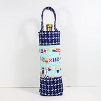 Wine Tote Padded Wine Bag withNavy Blue Anchors and Nautical Flag Fabric Great Hostess Gift