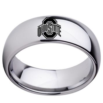 Men's White Tungsten Carbide Ohio State Buckeyes Wedding Band