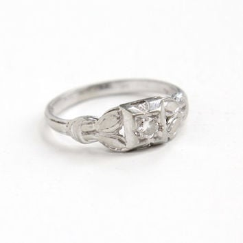 Antique 18k White Gold Art Deco .08 Carat Diamond Ring - Size 6 Vintage Filigree 1930s Embossed Fine Engagement Jewelry with Leaf Motif