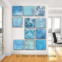 Kaleidoscope of Ice Abstract Painting / ORIGINAL 11 square ( 15 Inch x 15 Inch) / abstract wall art / blue, white, ocean, water, sea