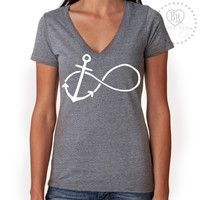 Anchored Forever - Infinity -- Wedding - Bridal - Anchor - Design on Tri-Blend V-neck Tee Shirt - Sizes S-XL. Other Colors Available