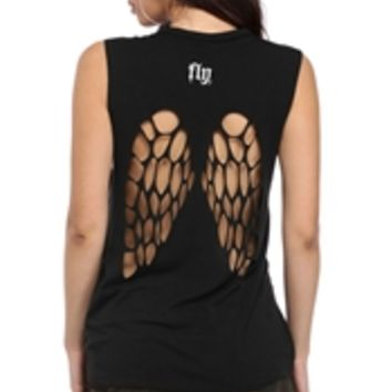 Black Fly Girl Top