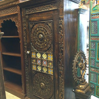 Indian Antique Cabinet Colorful Floral Carving Wardrobe Brass Cladded Almira 4 shelves