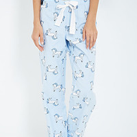 FOREVER 21 Unicorn Print Flannel PJ Pants Light Blue/White