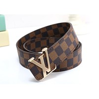 LV x Supreme co-branded simple tide brand retro men and women smooth buckle belt coffee check