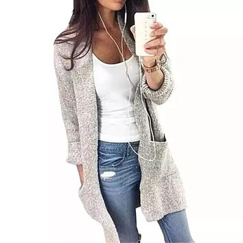Gray Loose Warm Knitted Cardigan for Women