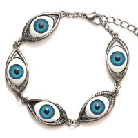 Occult Eye Ball Bracelet Antique Silver Tone BB02 Gothic Punk Charm Bangle Fashion Jewelry