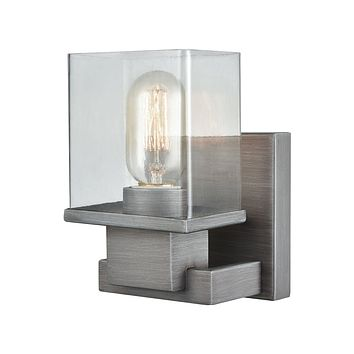 Hotelier 1-Light Vanity Lamp in Weathered Zinc with Clear Glass